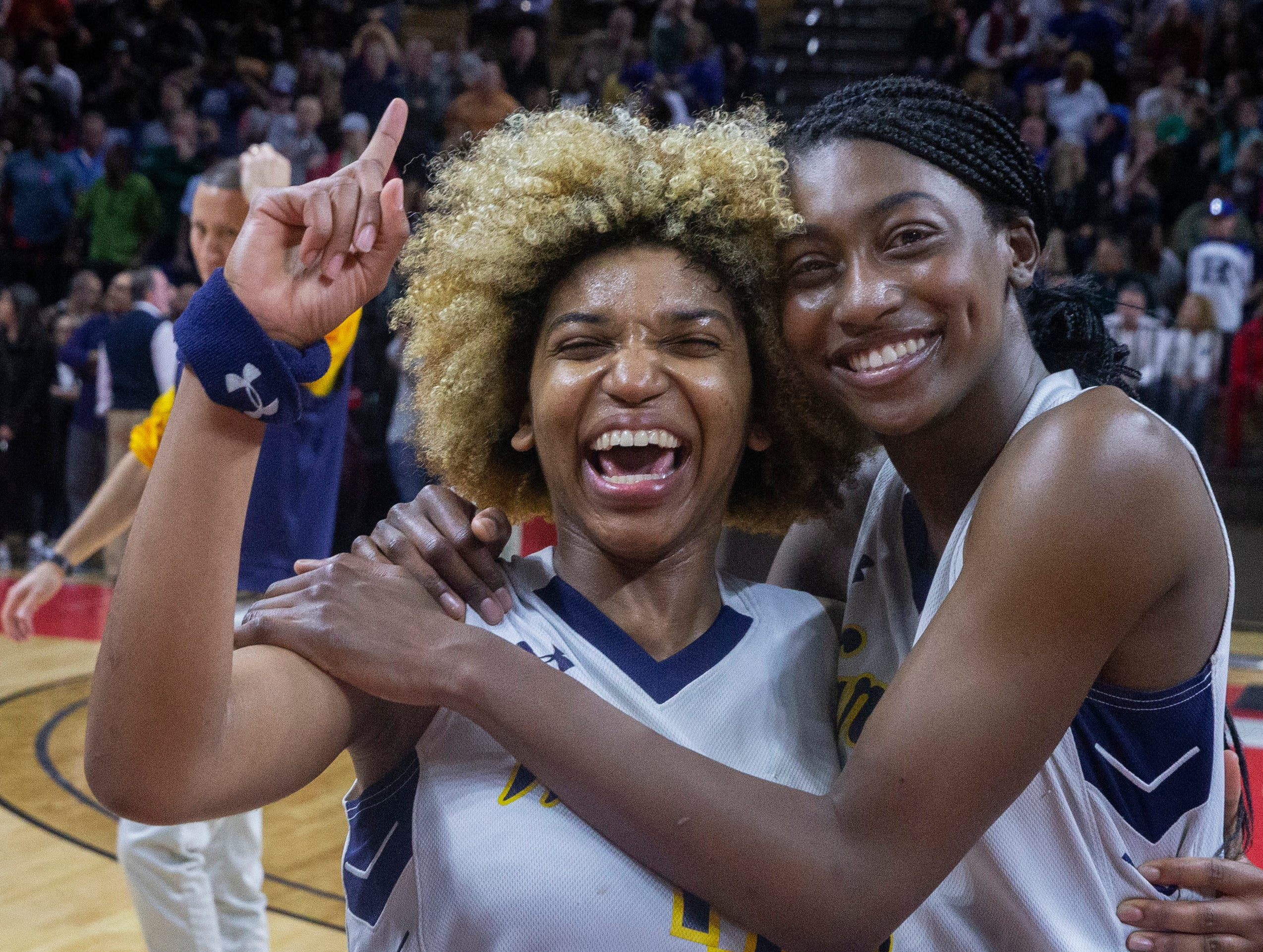 Franklin seniors Tiana Jackson and Diamond Miller celebrate their team's championship. Franklin girls basketball vs Saddle River Day in 2019 NJSIAA Tournament of Champions final in Piscataway, N.J. on March 17, 2019.