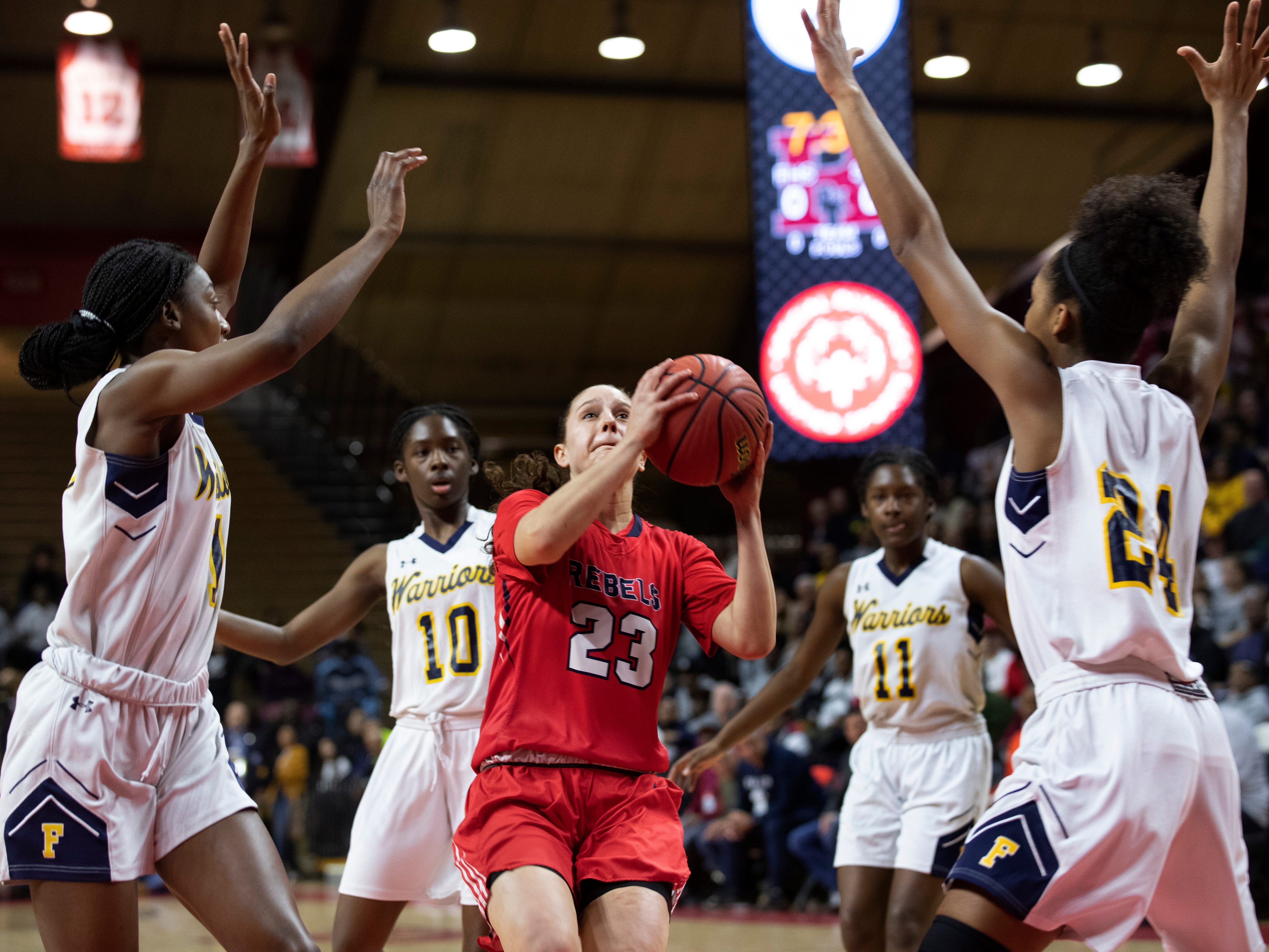 Michelle Sidor (23) of Saddle River Day drives up the middle during first-half action. Franklin vs. Saddle River Day in 2019 NJSIAA Tournament of Champions final in Piscataway, N.J. on March 17, 2019.
