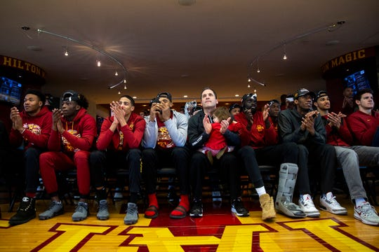 The Iowa State men's basketball team reacts to finding out where they'll play in the NCAA tournament, on Sunday, March 17, 2019, in Ames. Iowa State will play Ohio State in the first round of the tournament