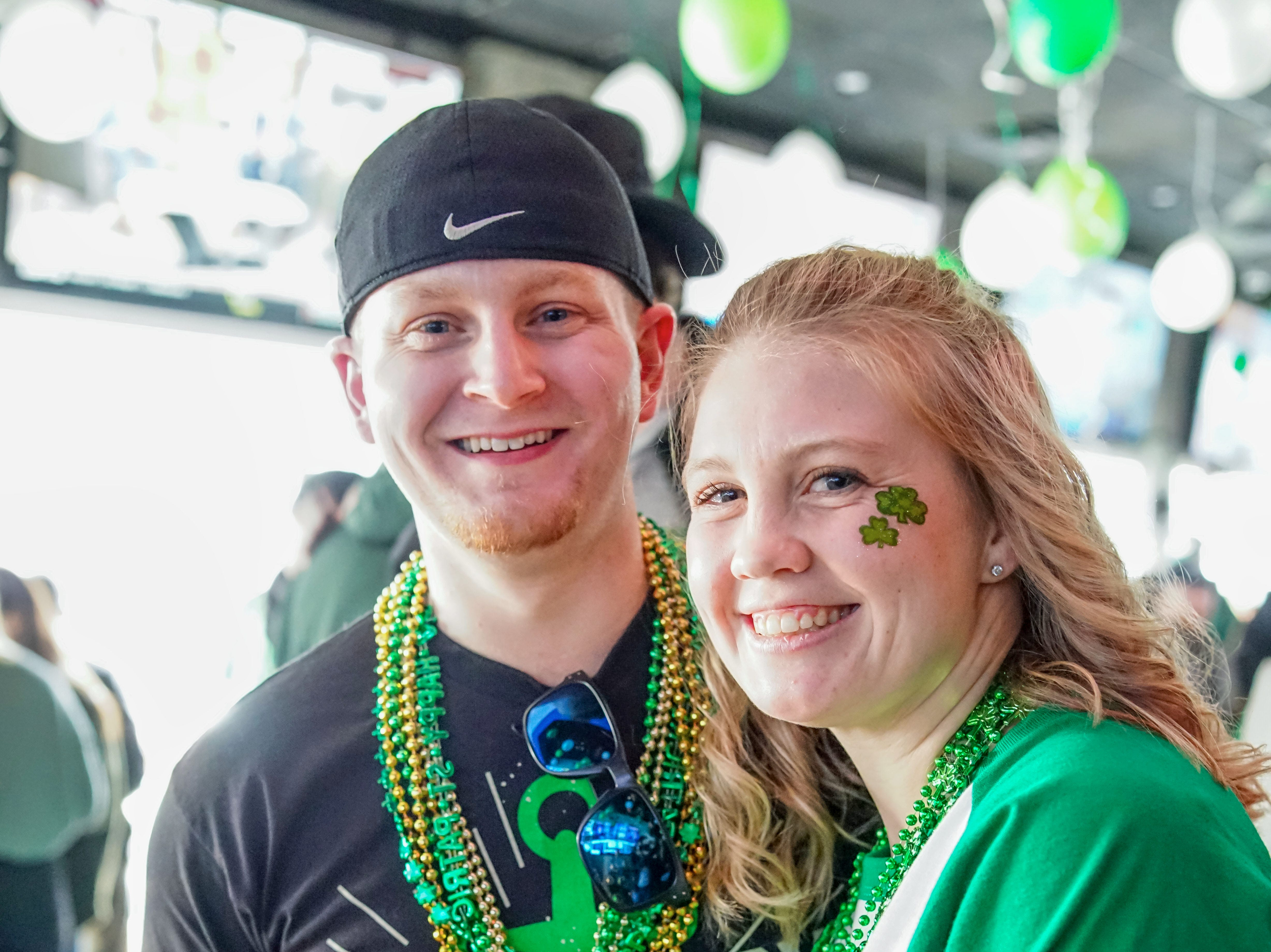 Emily Nalevechko, 26, and Dallas Downey, 23, both of Des Moines, having a fun time, Saturday, March 16, 2019, at Pints.