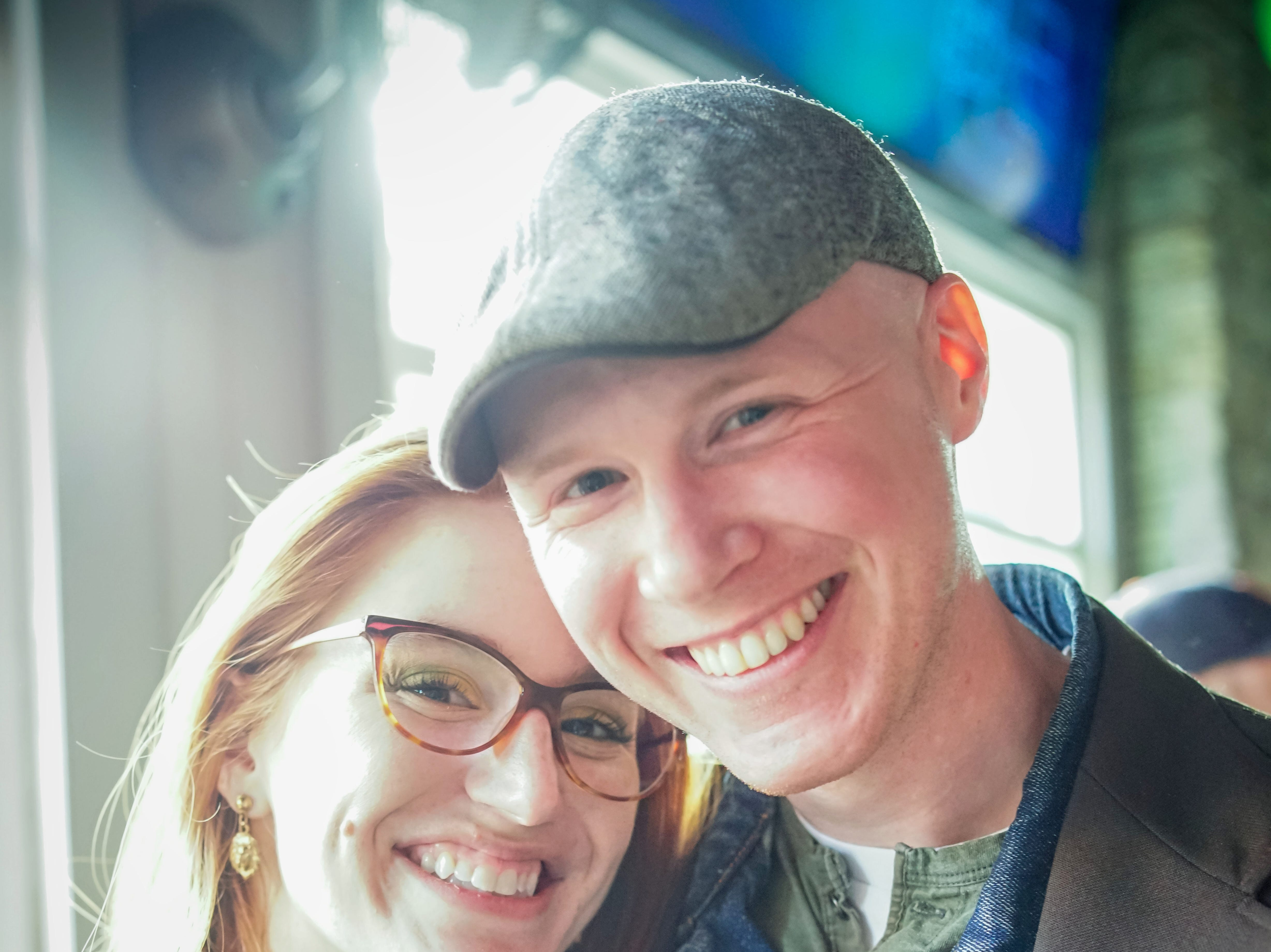 Matt Jacobsen, 28, Laura Kottke, 25, both of Des Moines, having a great time, Saturday, March 16, 2019, at Pints.