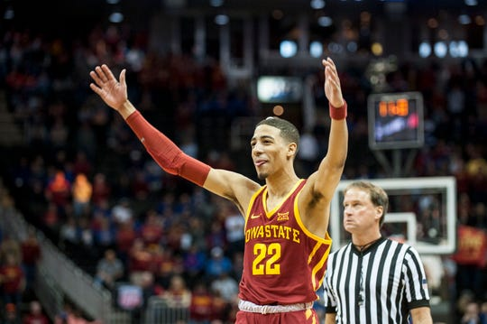 Mar 16, 2019; Kansas City, MO, USA; Iowa State Cyclones guard Tyrese Haliburton (22) reacts after a play against the Kansas Jayhawks during the second half of the final of the Big 12 conference tournament at Sprint Center. Mandatory Credit: Amy Kontras-USA TODAY Sports