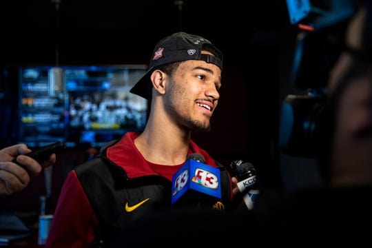 Iowa State's Nick Weiler-Babb talks to the media after finding out where they'll play in the NCAA Tournament, on Sunday, March 17, 2019, in Ames. Iowa State will play Ohio State in the first round of the tournament