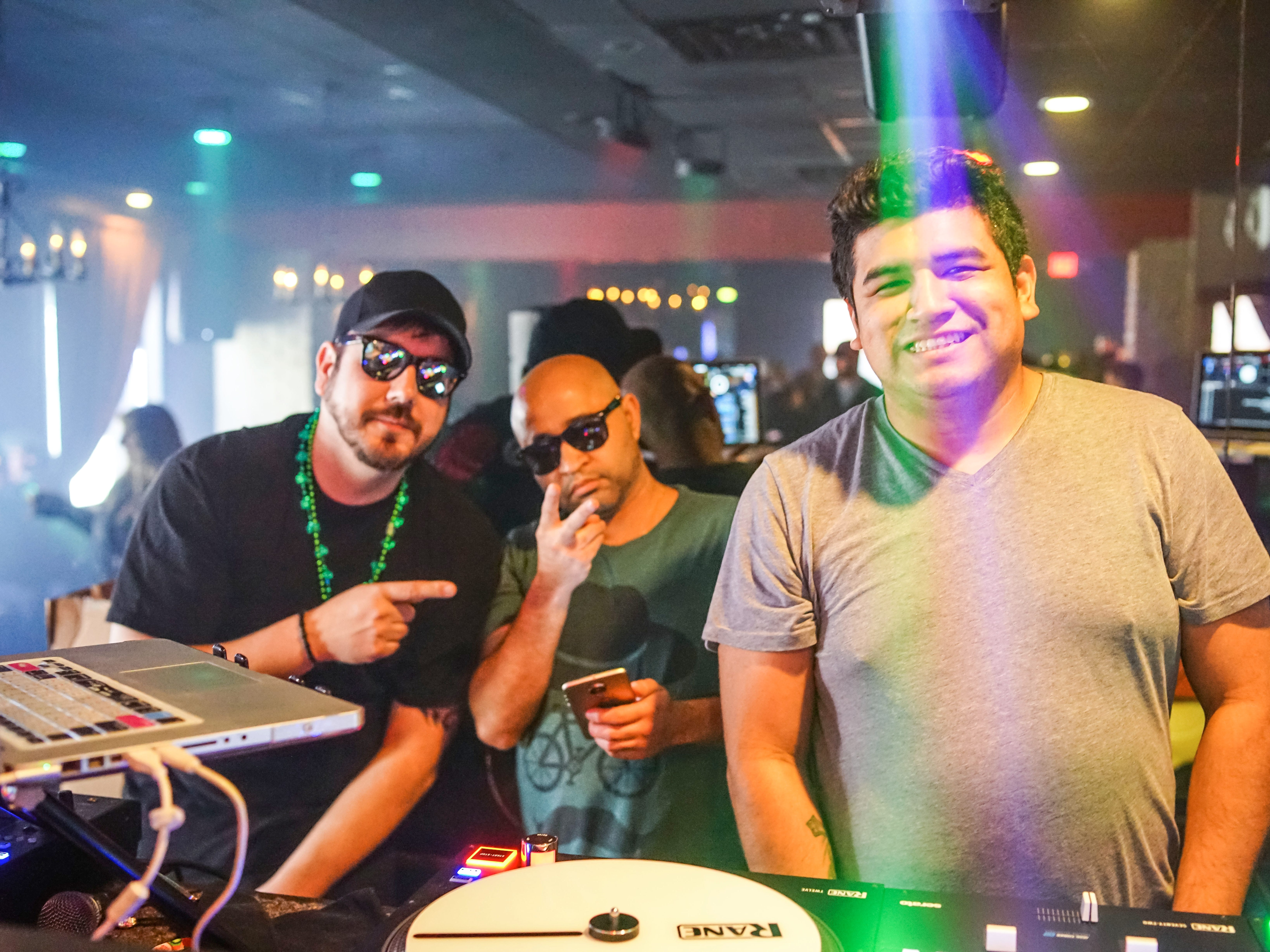 Chris Coffey, 30, Raj Devan, 30, and Edgar Ortiz, 30, all of Des Moines, getting the party started, Saturday, March 16, 2019, at Voodoo Lounge.