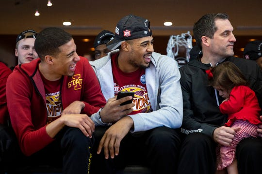 Iowa State's Tyrese Haliburton, Talen Horton-Tucker and Head Coach Steve Prohm wait to find out where they'll play in the NCAA tournament, on Sunday, March 17, 2019, in Ames. Iowa State will play Ohio State in the first round of the tournament
