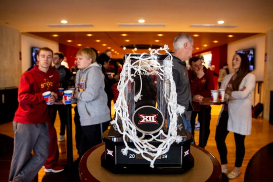The Big 12 Conference Tournament trophy sits on display while the Cyclones wait to find out where the Cyclones will play in the NCAA Tournament, on Sunday, March 17, 2019, in Ames. Iowa State will play Ohio State in the first round of the tournament