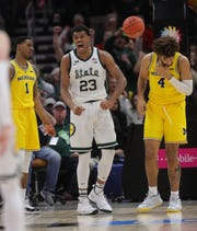 Michigan State's Xavier Tillman celebrates a basket against Michigan during the second half of the Big Ten tournament championship Sunday, March 17, 2019 at the United Center in Chicago.
