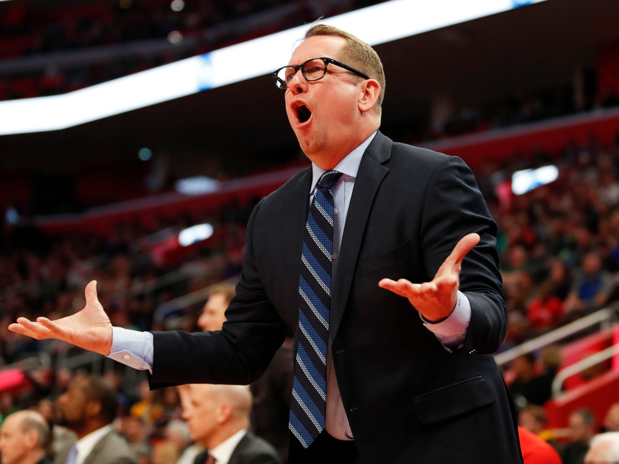 Toronto Raptors coach Nick Nurse yells at a referee during the first quarter against the Detroit Pistons at Little Caesars Arena, March 17, 2019, in Detroit.