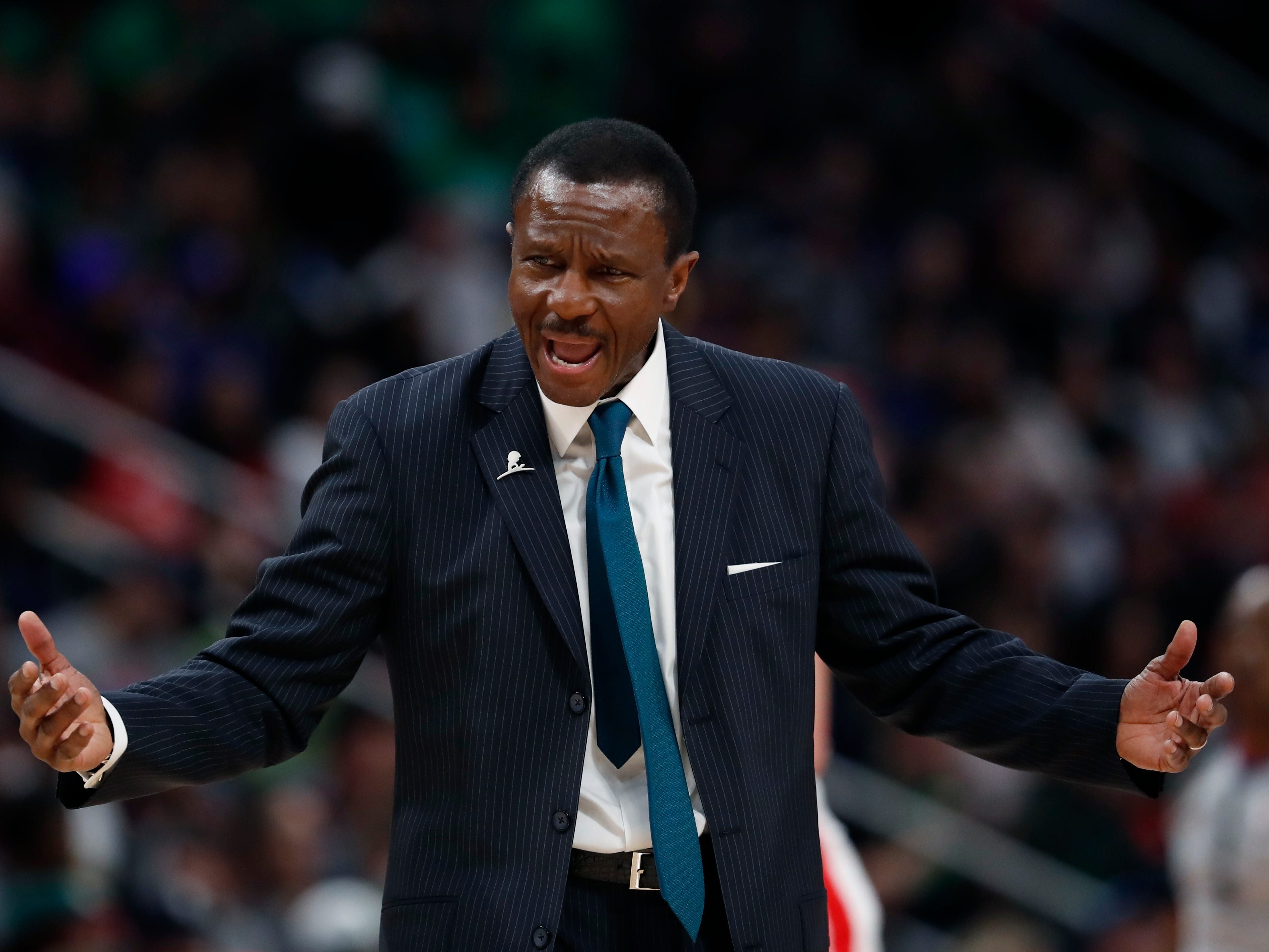 Dwane Casey reacts during the second half of the Detroit Pistons' 110-107 win against the Toronto Raptors, Sunday, March 17, 2019, in Detroit.