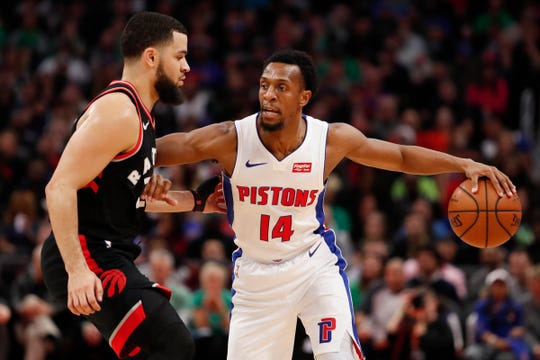 Ish Smith is defended by Raptors guard Fred VanVleet at Little Caesars Arena on March 17.