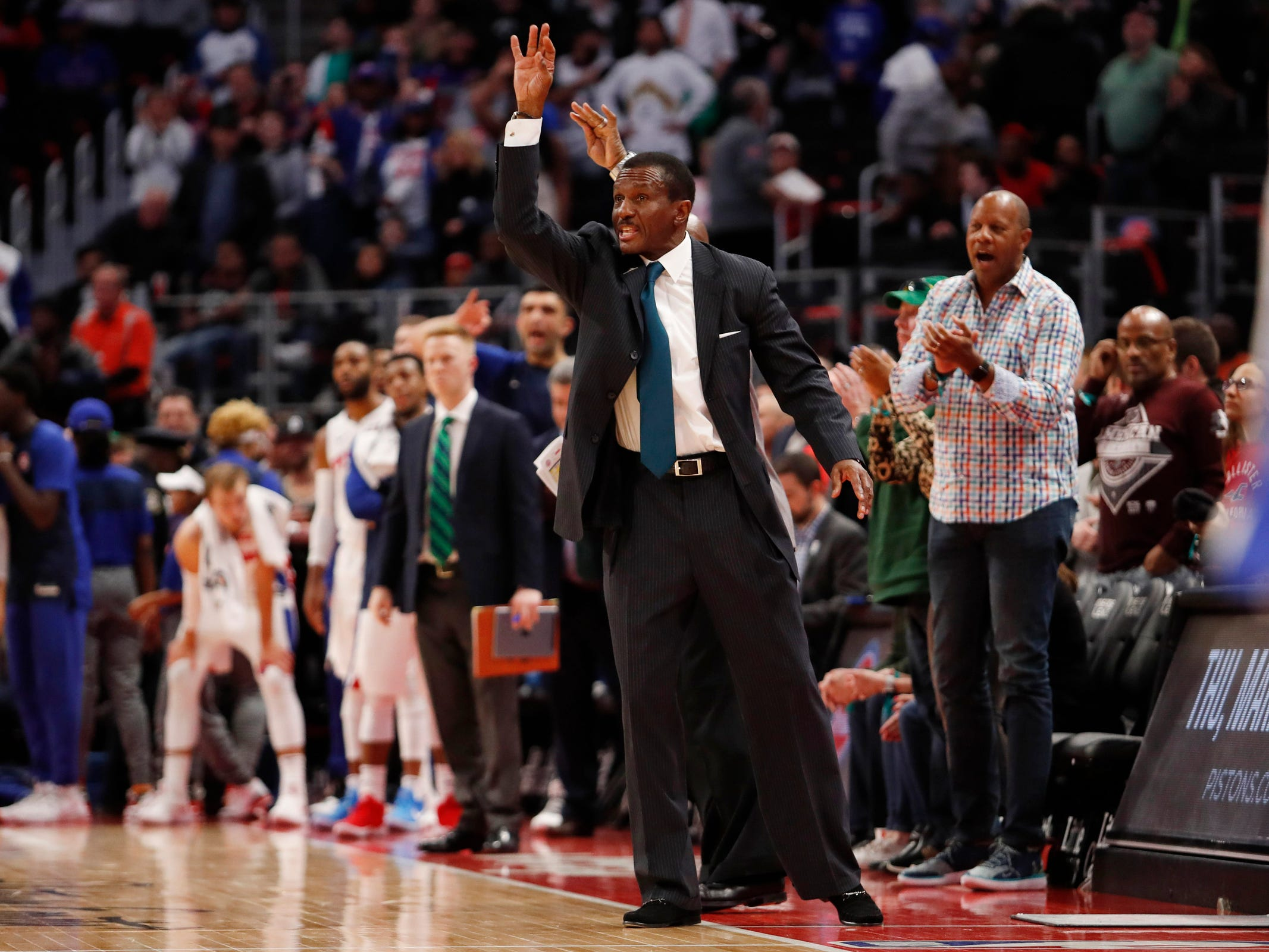 Detroit Pistons head coach Dwane Casey calls a play during the fourth quarter against the Toronto Raptors at Little Caesars Arena, Sunday, March 17, 2019.