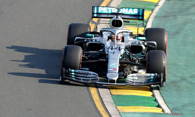 Mercedes driver Lewis Hamilton of Britain goes through turn 2 during qualifying for the Australian Grand Prix.