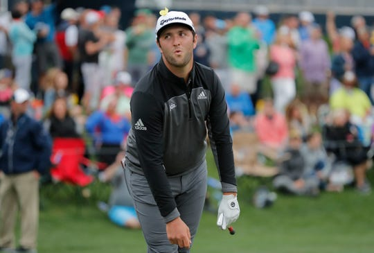 Jon Rahm after hitting his tee shot on the 17th green during the third round of The Players Championship.