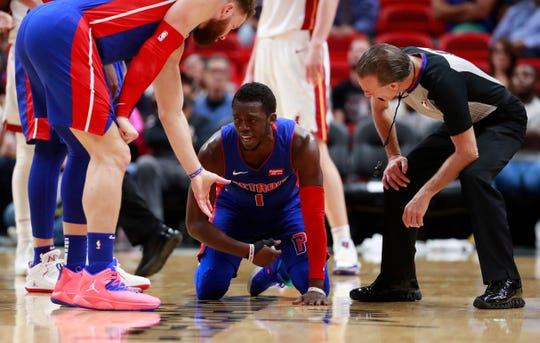 Detroit Pistons guard Reggie Jackson injured his ankle during last Wednesday's game in Miami.