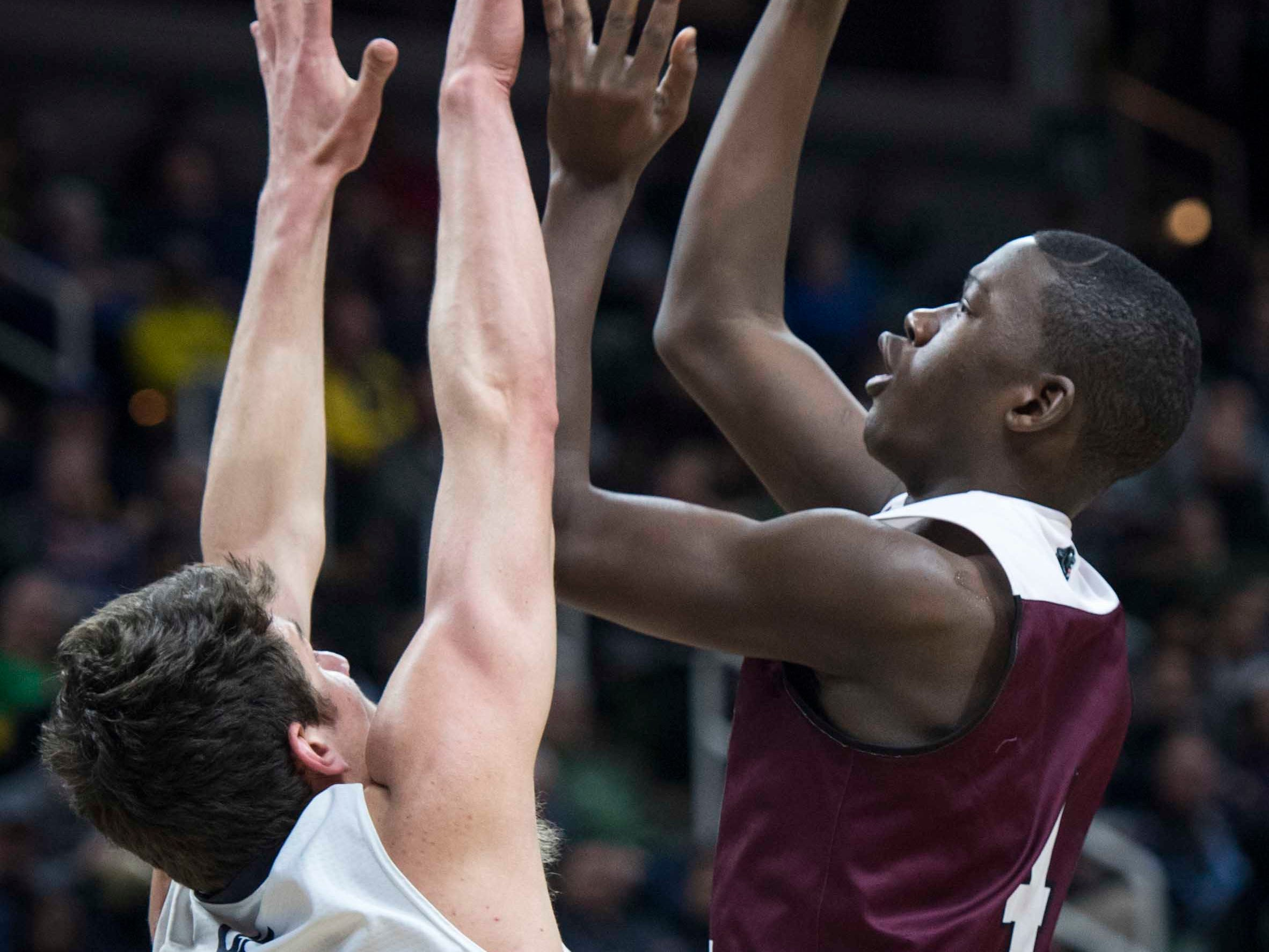 River Rouge's Legend Parrish shoots over Hudsonville Unity Christian's T.J. VanKoevering in the first half.