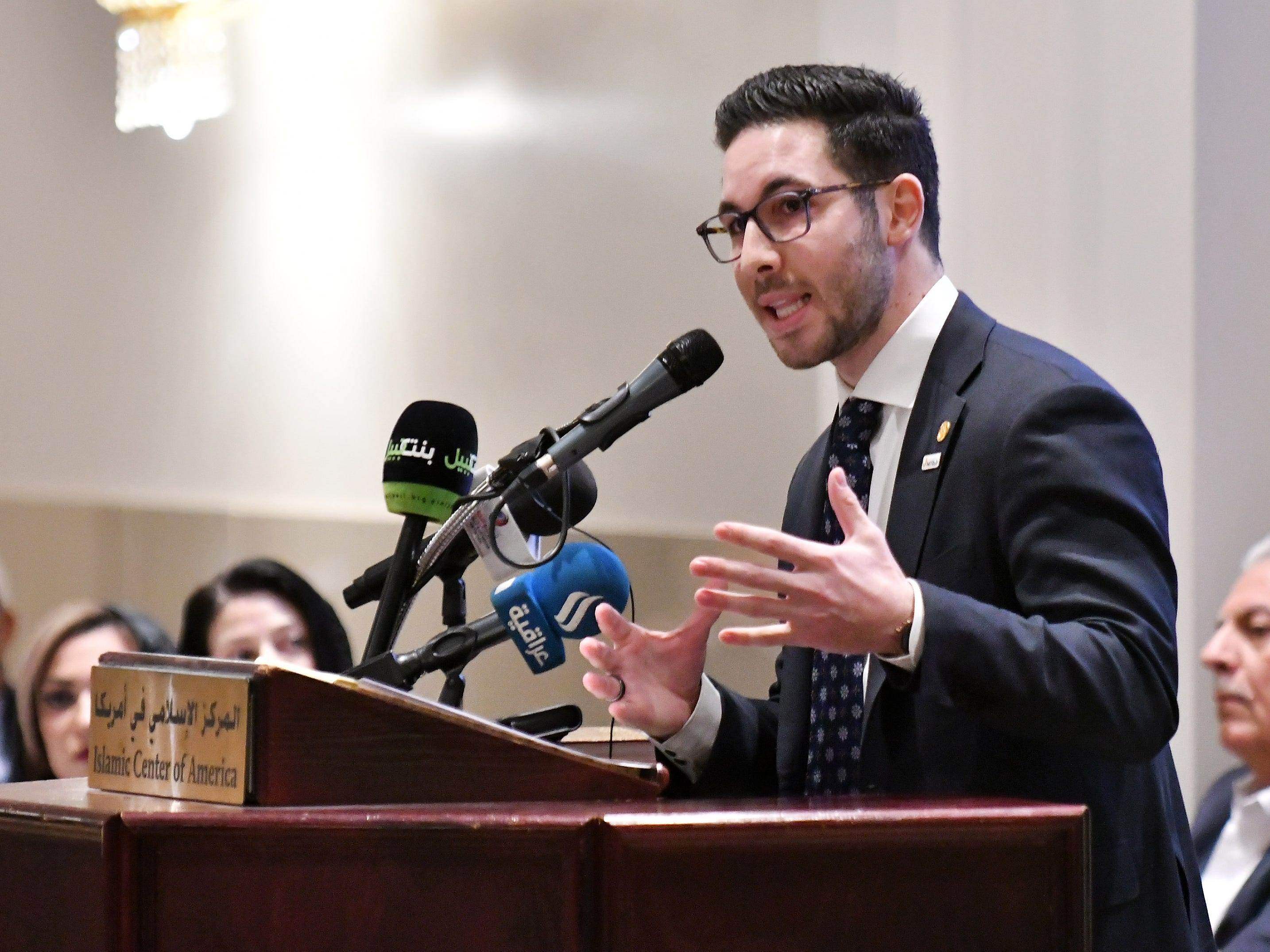 Michigan Rep. Abdullah Hammoud, organizer of the event, speaks at the Standing Together Against Hate and Terror Community Memorial.