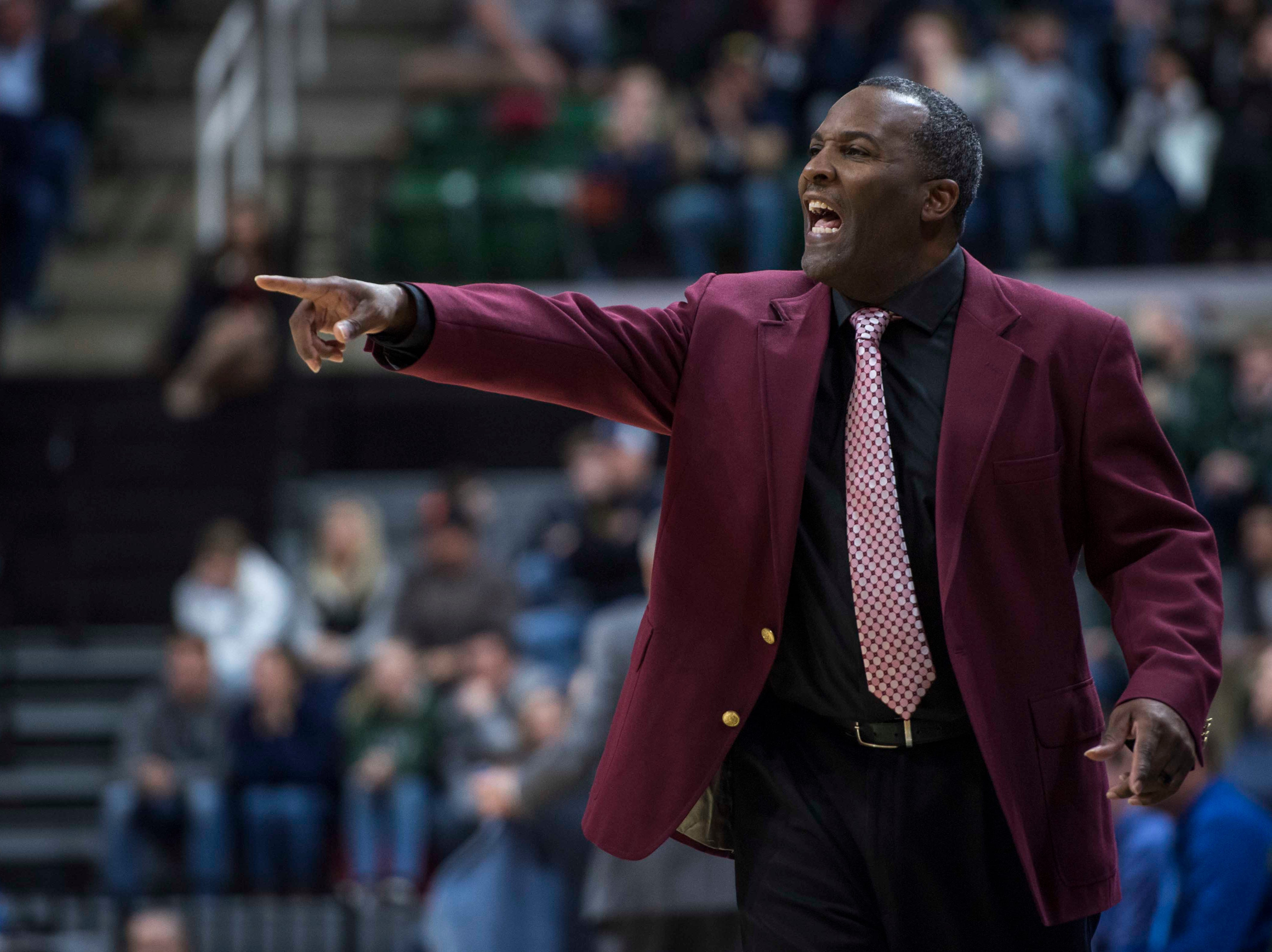 River Rouge's head coach Lamonta Stone yells in the second half. *** Hudsonville Unity Christian defeated River Rouge 58-55 in the MHSAA Div. 2 championship game at Breslin Center in East Lansing on Saturday, March 16, 2019. (Nic Antaya, Special to The Detroit News)