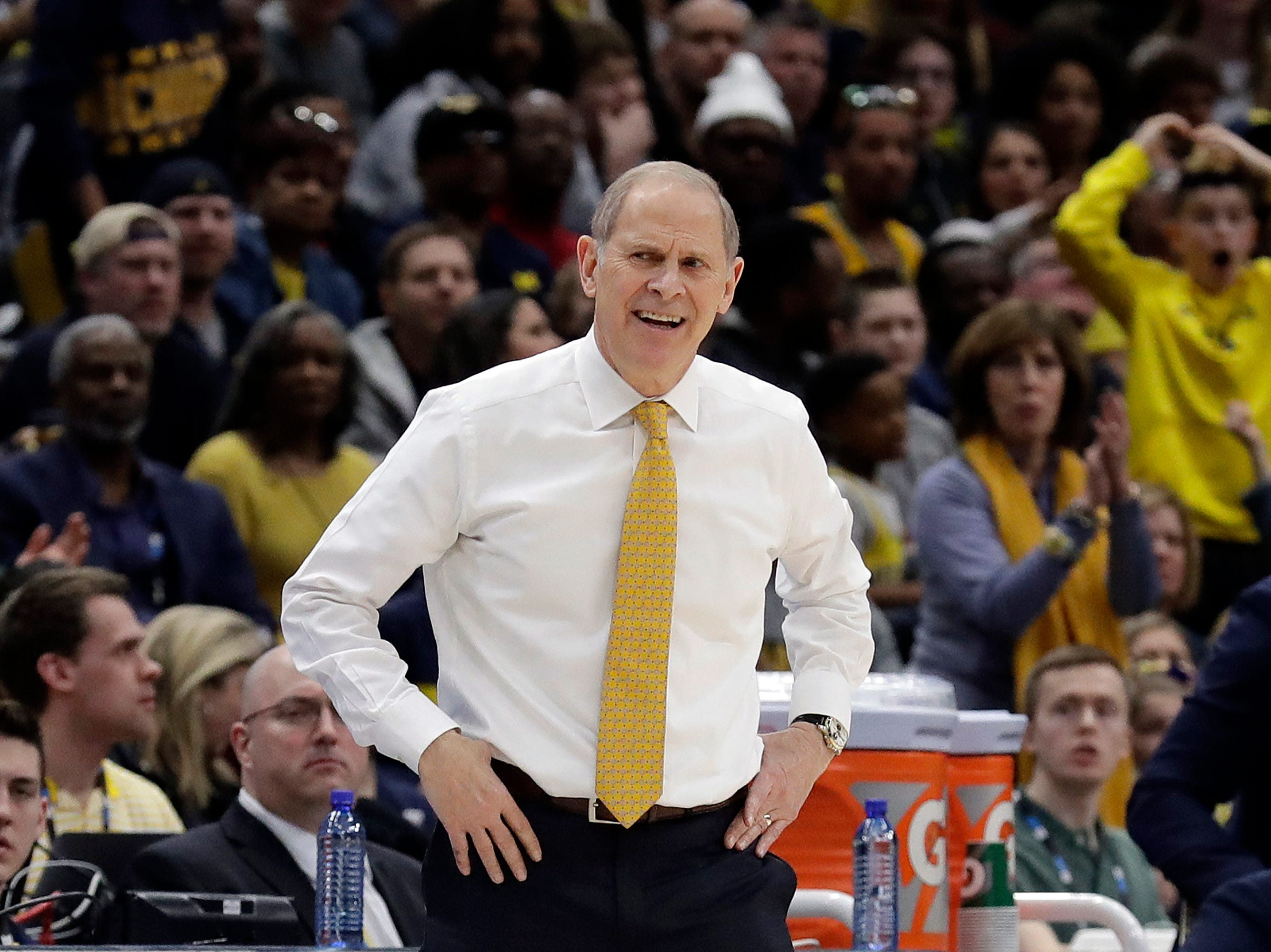 Michigan head coach John Beilein reacts top a call during the first half.