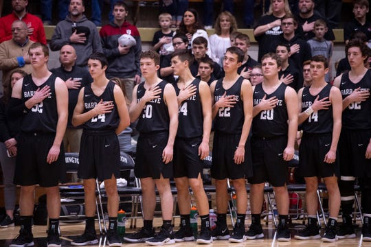 Barr-Reeve lines up for The Star-Spangled Banner before  the 1A Boys Indiana Semi-State Basketball Tournament game against Bloomfield at the Hatchet House in Washington, Ind., Saturday afternoon.