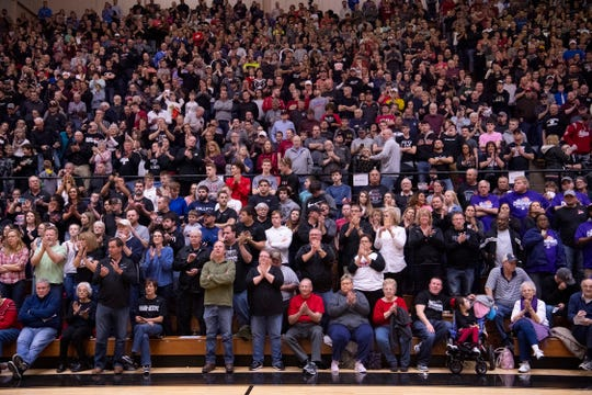 Barr-Reeve's fans cheer them after they beat Bloomfield at the 1A Boys Indiana Semi-State Basketball Tournament at the Hatchet House.