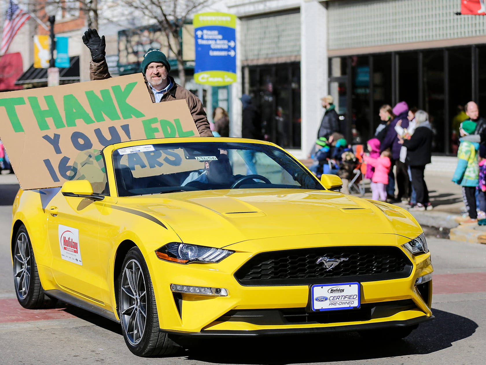 Greg Giles participates in the City of Fond du Lac St. Patrick's Day Parade Saturday, March 16, 2019 on Main Street in downtown Fond du Lac. Hundreds of people lined the street to watch over 50 parade participants. Doug Raflik/USA TODAY NETWORK-Wisconsin