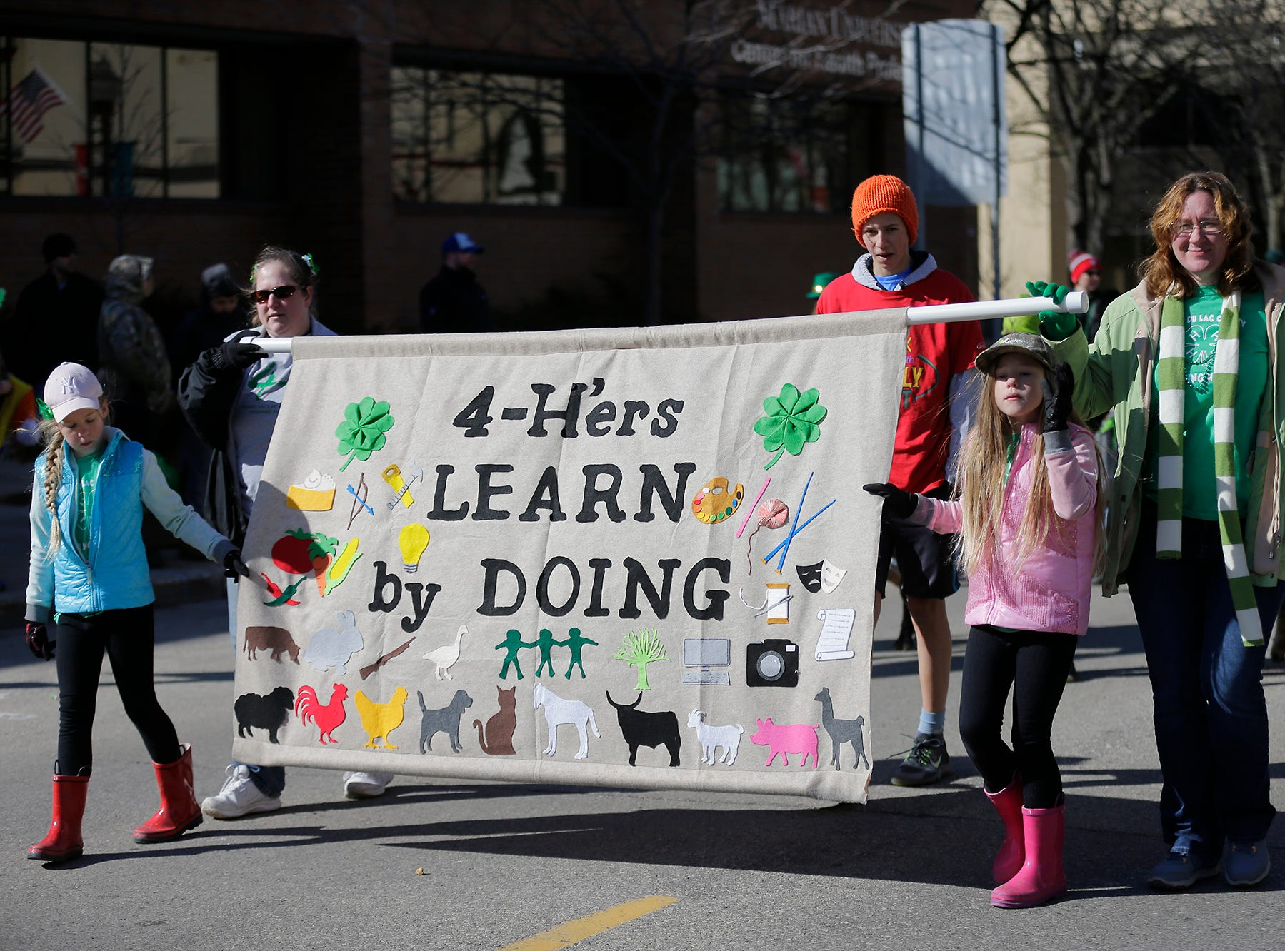A 4-H group participated in the City of Fond du Lac St. Patrick's Day Parade Saturday, March 16, 2019 on Main Street in downtown Fond du Lac. Hundreds of people lined the street to watch over 50 parade participants. Doug Raflik/USA TODAY NETWORK-Wisconsin