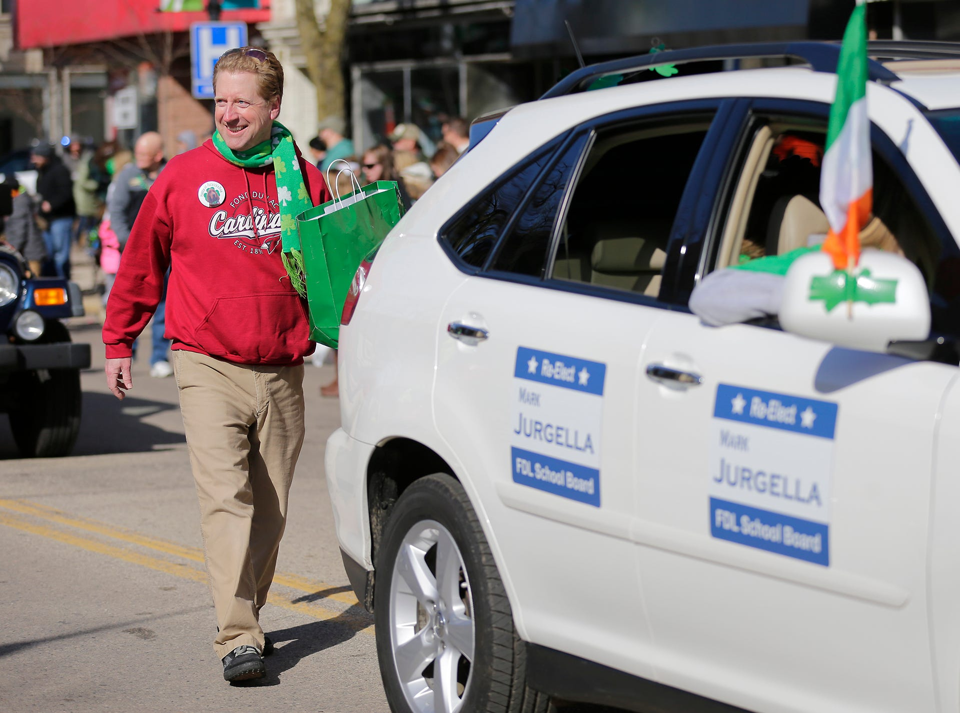 Mark Jurgella participated in the City of Fond du Lac St. Patrick's Day Parade Saturday, March 16, 2019 on Main Street in downtown Fond du Lac. Hundreds of people lined the street to watch over 50 parade participants. Doug Raflik/USA TODAY NETWORK-Wisconsin
