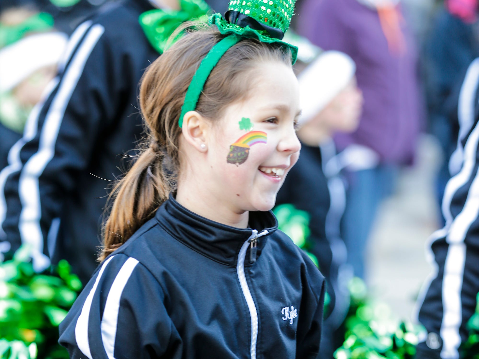 Kylee Laurin of Fond du Lac's Studio Of Music participated in the City of Fond du Lac St. Patrick's Day Parade Saturday, March 16, 2019 on Main Street in downtown Fond du Lac. Hundreds of people lined the street to watch over 50 parade participants. Doug Raflik/USA TODAY NETWORK-Wisconsin