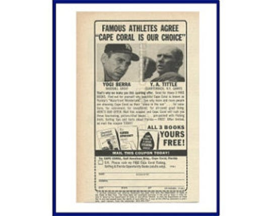 An early promotional pitch for Cape Coral from sports celebrities.