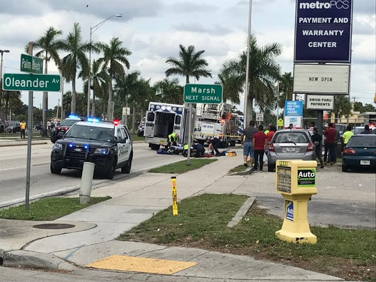 A male pedestrian suffered serious injury along Palm Beach Boulevard after he was struck in a hit-and-run crash Sunday shortly before 4:30 p.m.