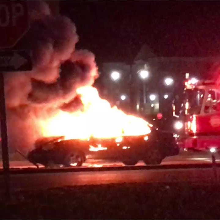 A car caught fire Sunday morning. Video shows what happened.