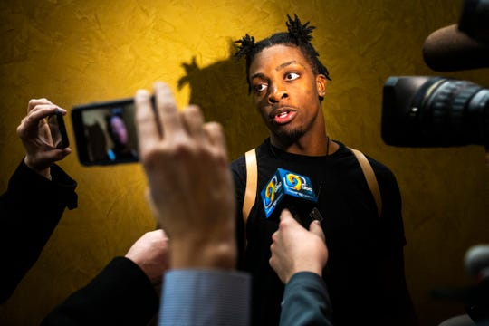 Iowa forward Tyler Cook speaks to reporters on Sunday, March 17, 2019, at Carver-Hawkeye Arena in Iowa City, Iowa.