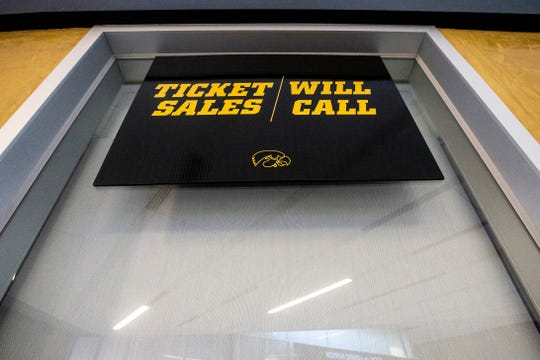 Ticket windows are pictured Sunday, March 17, 2019, at Carver-Hawkeye Arena inside the north entrance in Iowa City, Iowa.