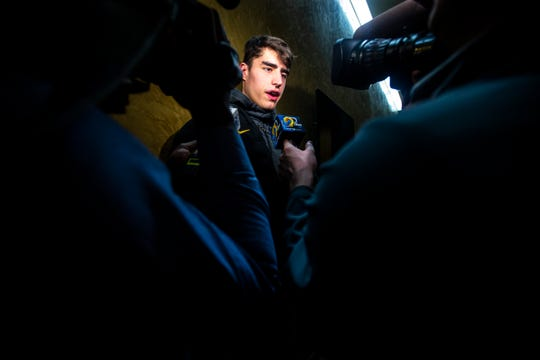 Iowa center Luka Garza speaks to reporters on Sunday, March 17, 2019, at Carver-Hawkeye Arena in Iowa City, Iowa.