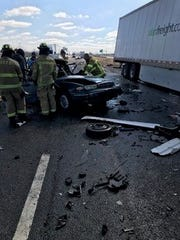 Indiana State Police are investigating a Saturday March 16, 2019, fatal chain-reaction crash between two semi tractor-trailers and five vehicles on I-70 westbound in Terre Haute.