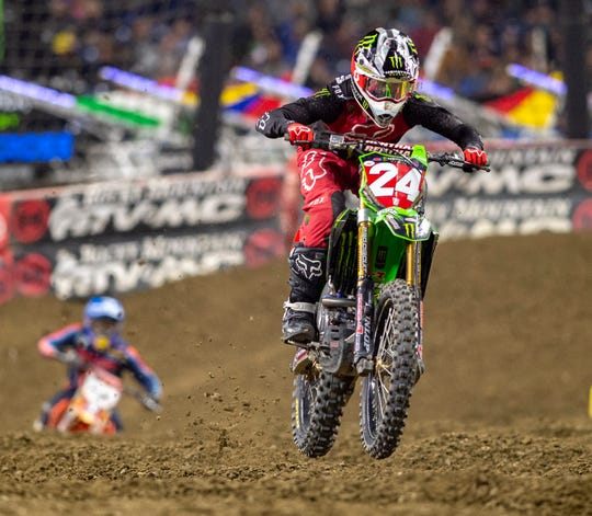 Austin Forkner (24) leads the 250SX main event, eventually winning the race. The AMA Supercross, an FIM World Championship event came to Lucas Oil Stadium, Saturday, March 16, 2019. Twenty-two riders competed in the main event - the 450SX class.
