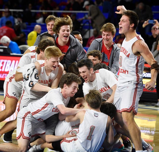 Columbia Academy celebrates their win over Humboldt 76-60 for the TSSAA Class A Championship Saturday, March 16, 2019, in Murfreesboro, Tenn.