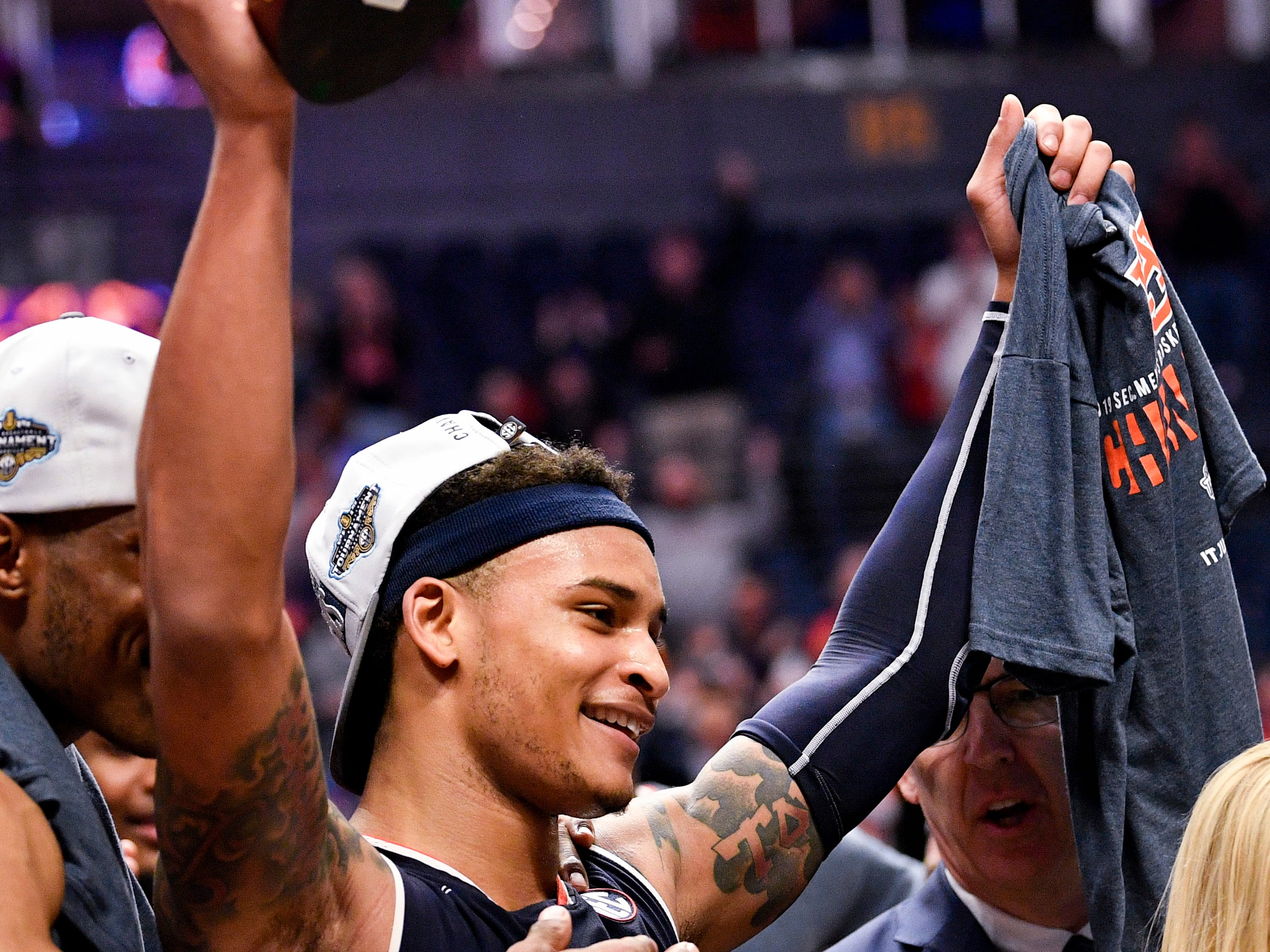 Auburn guard Bryce Brown (2) celebrates after their SEC Men's Basketball Tournament championship victory against Tennessee at Bridgestone Arena in Nashville, Tenn., Sunday, March 17, 2019.