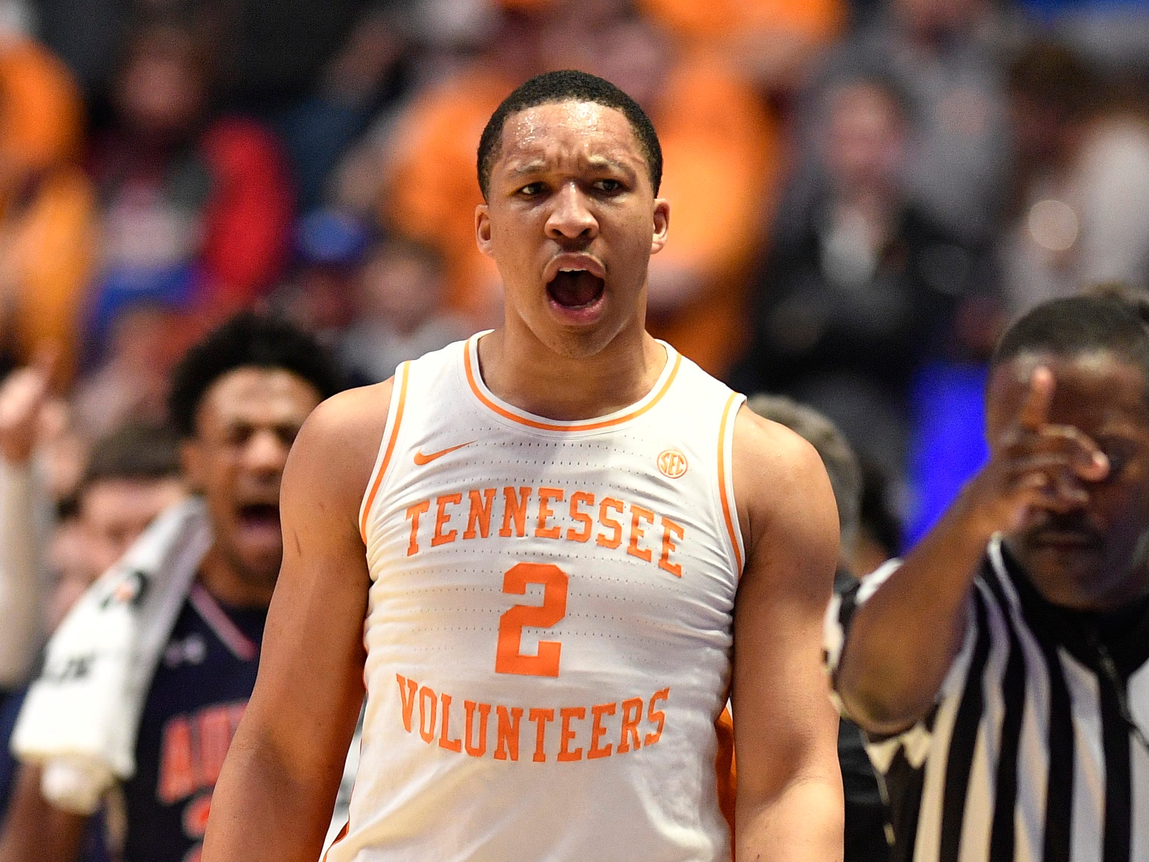 Tennessee forward Grant Williams (2) reacts during the first half of the SEC Men's Basketball Tournament championship game at Bridgestone Arena in Nashville, Tenn., Sunday, March 17, 2019.
