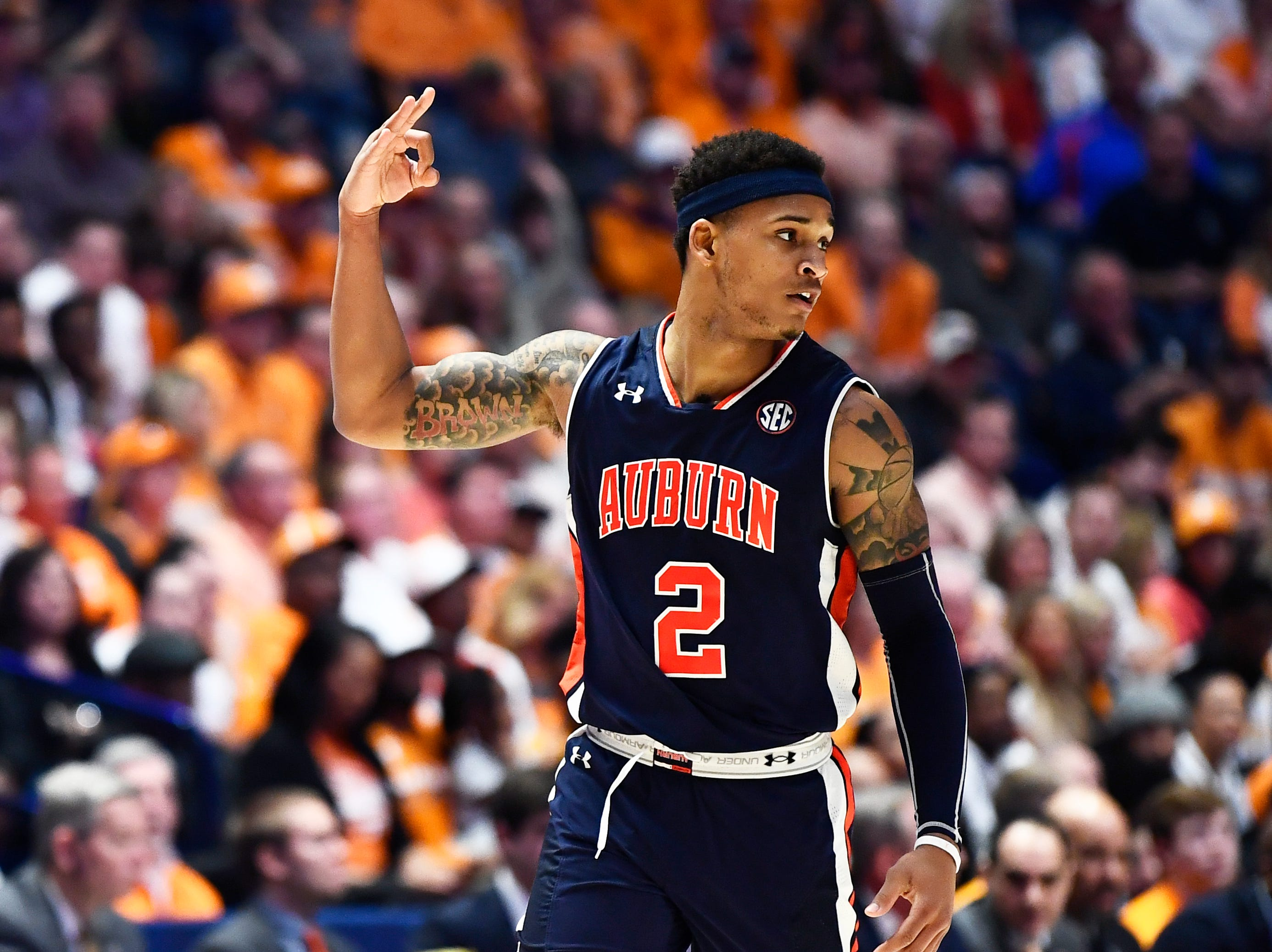 Auburn guard Bryce Brown (2) celebrates during the first half of the SEC Men's Basketball Tournament championship game at Bridgestone Arena in Nashville, Tenn., Sunday, March 17, 2019.