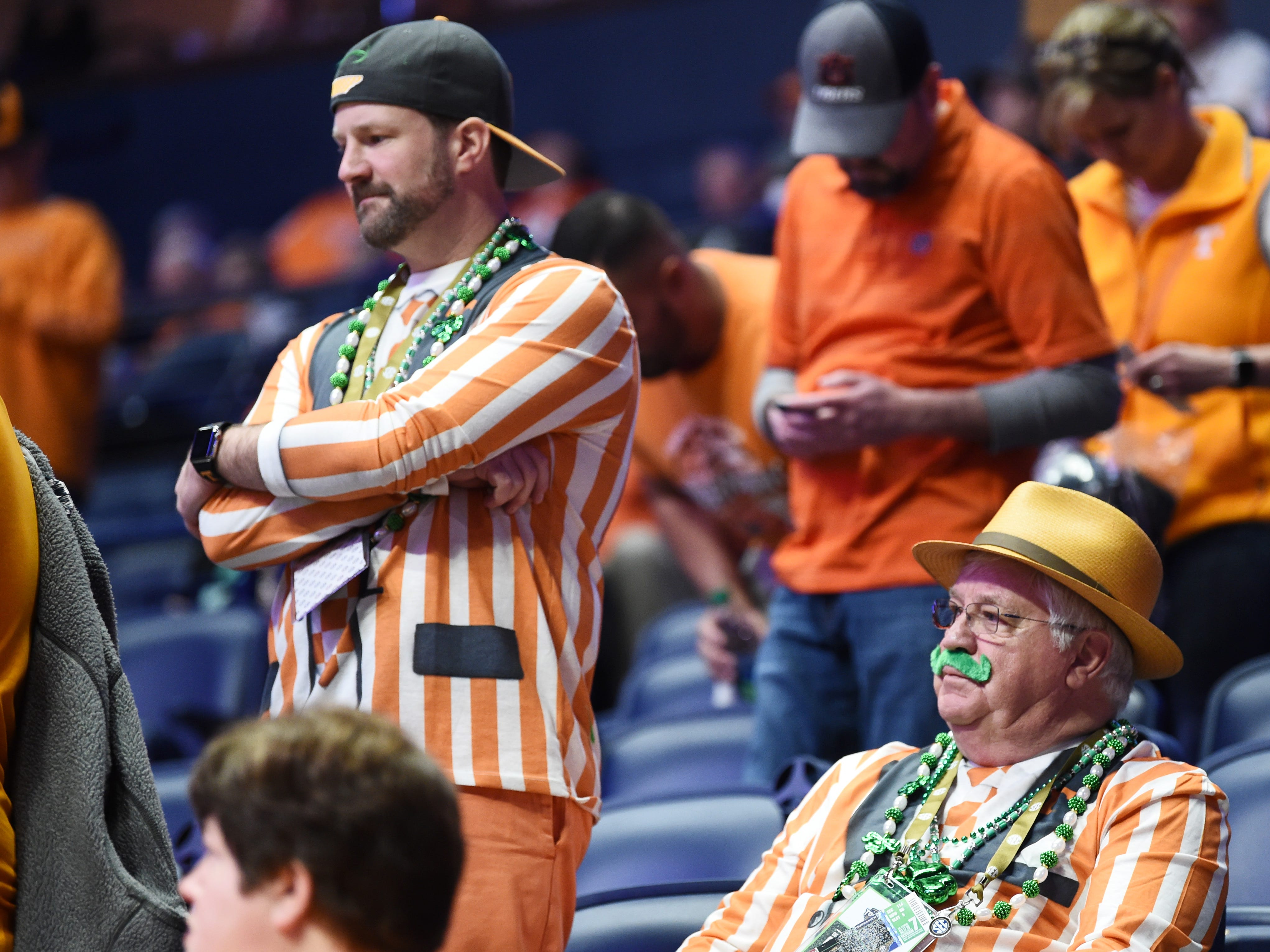 Tennessee fans wait for the start of the SEC Men's Basketball Tournament championship game against Auburn at Bridgestone Arena in Nashville, Tenn., Sunday, March 17, 2019.