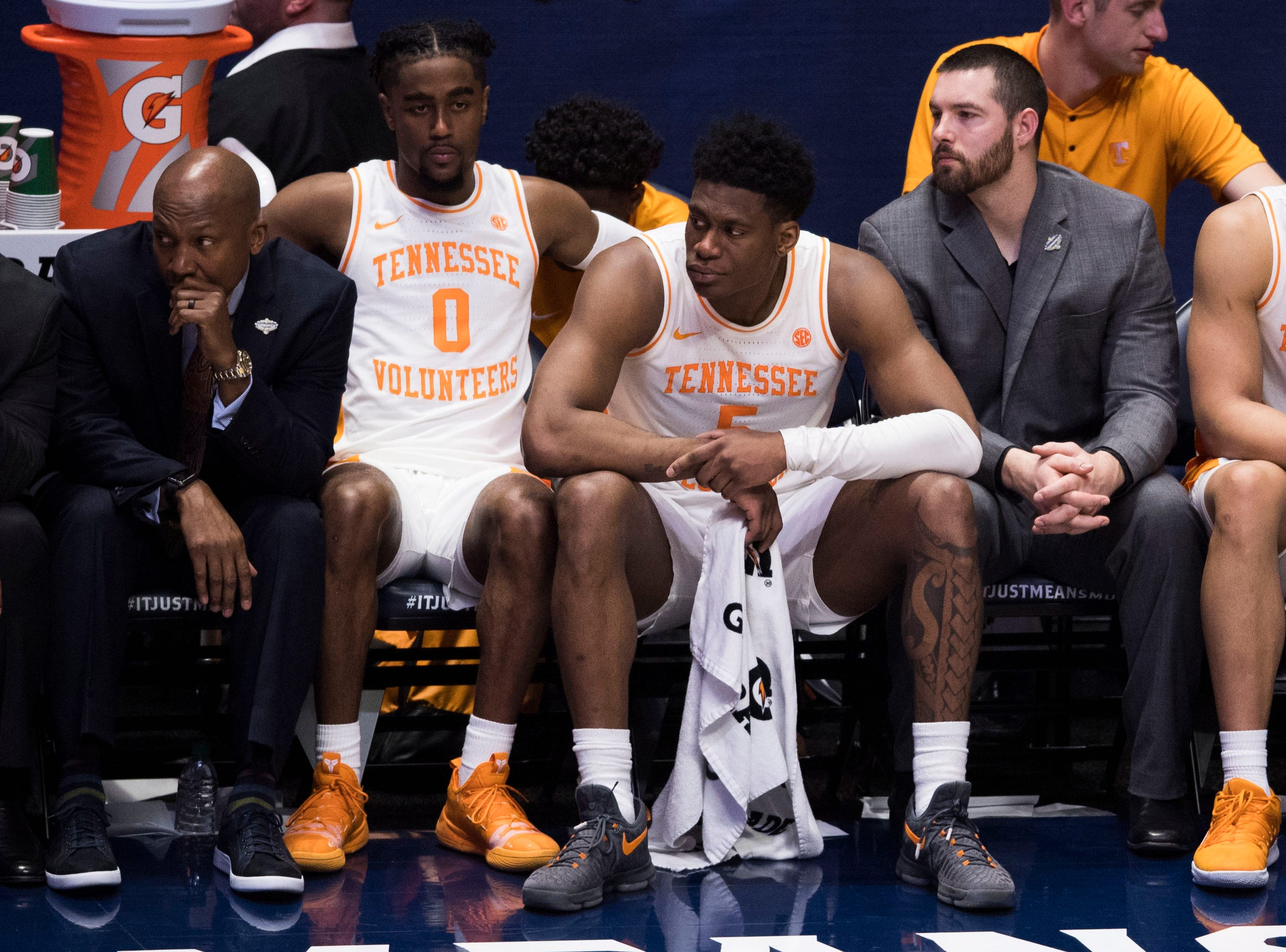 Tennessee guard Jordan Bone (0) and Tennessee guard Admiral Schofield (5) sit on the bench during the second half of the SEC Men's Basketball Tournament championship game at Bridgestone Arena in Nashville, Tenn., Sunday, March 17, 2019.