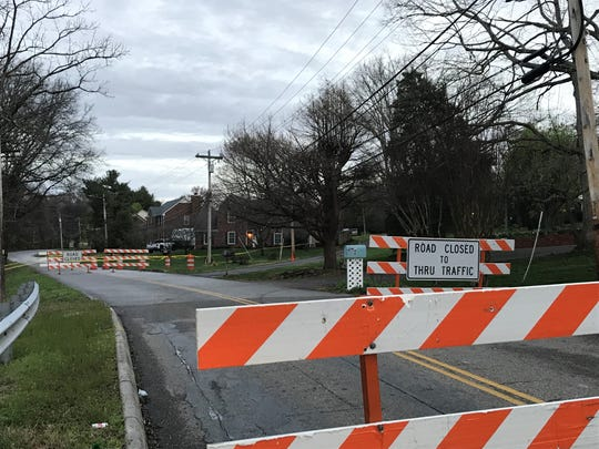 Red Mill Lane in Farragut is closed to repair a drain pipe after flooding in February 2019.
