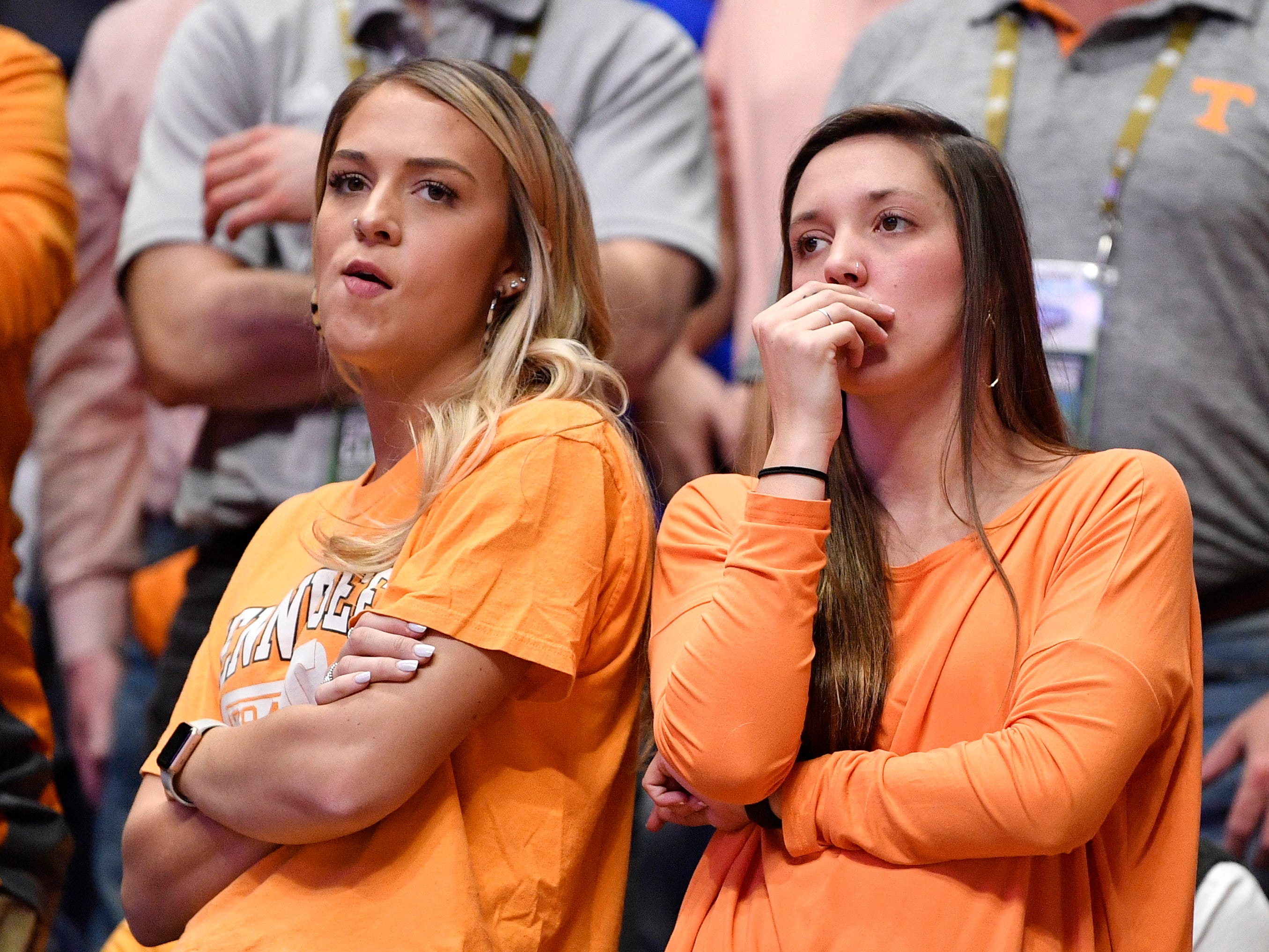 UT fans react during the first half of the SEC Men's Basketball Tournament championship game against Auburn at Bridgestone Arena in Nashville, Tenn., Sunday, March 17, 2019.