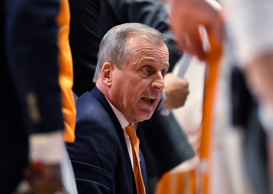 Tennessee head coach Rick Barnes talks to his players during a timeout in the first half of the SEC Men's Basketball Tournament championship game against Auburn at Bridgestone Arena in Nashville, Tenn., Sunday, March 17, 2019.