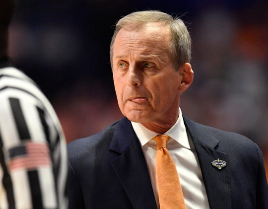 Tennessee head coach Rick Barnes watches action during the first half of the SEC Men's Basketball Tournament championship game against Auburn at Bridgestone Arena in Nashville, Tenn., Sunday, March 17, 2019.