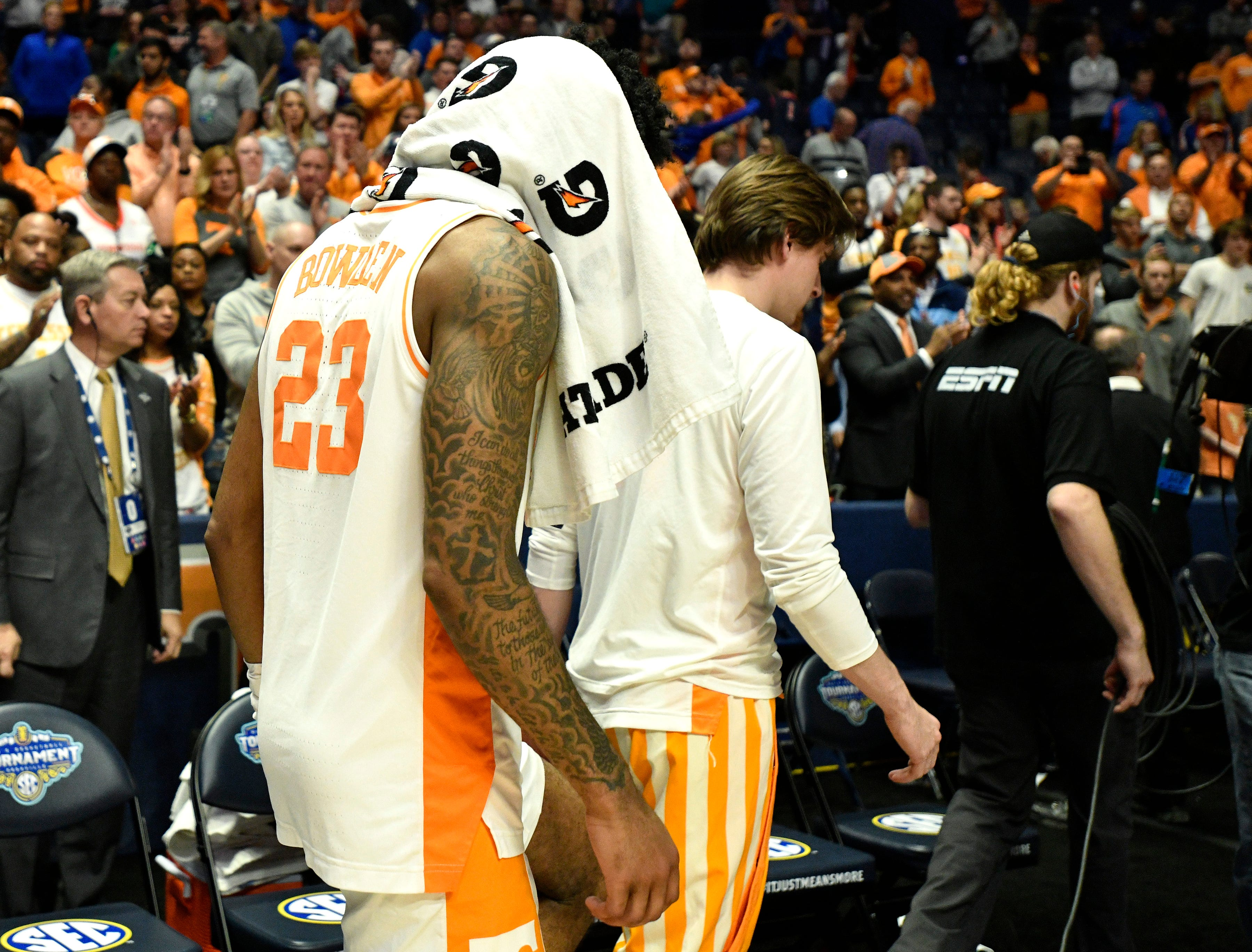 Tennessee guard Jordan Bowden (23) walks off the court after the team's loss to Auburn in the SEC Men's Basketball Tournament championship game at Bridgestone Arena in Nashville, Tenn., Sunday, March 17, 2019.