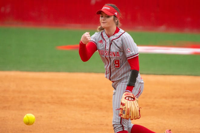 UL's pitcher Summer Ellyson throws to the batter as the Ragin' Cajuns take on the Troy Trojans at Yvette Girouard Field on March 17, 2019.