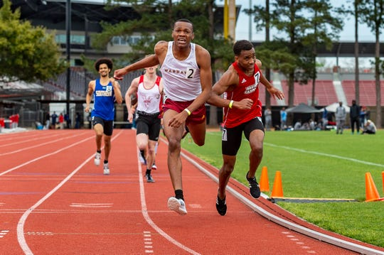 Key Alfred, shown March 16 at the Louisiana Classics, was part of the Cajuns' second-place 4x400 relay team at this weekend's Sun Belt Outdoor Track and Field Championships.