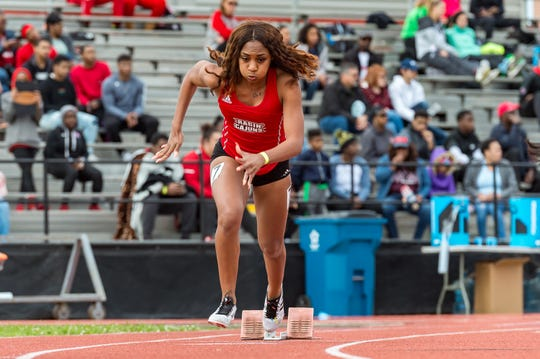 Amber Campbell runs the womens 400m as the Louisiana Ragin Cajuns  host the Louisiana Classics track meet. Saturday, March 16, 2019.